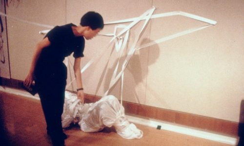 """Object-act-ivities,"" performance-installation. Co-produced with P. K. Leung, Choi Yan-chi and C. Y. Mui, et al. Sheung Wan Cultural Centre, 1989"